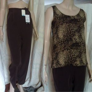 New SUEDED SILK Lined Exec Pants Chocolate Brown 6